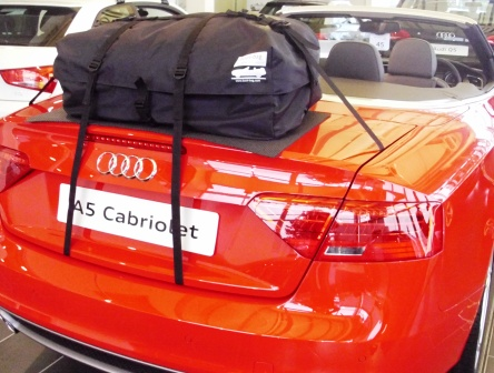 audi a5 cabriolet convertible with bootbag luggage rack system fitted