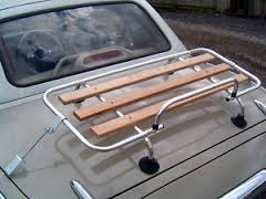 classic wood and chrome car luggage rack
